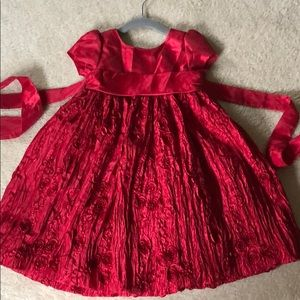 Holiday Dress roses red 2T
